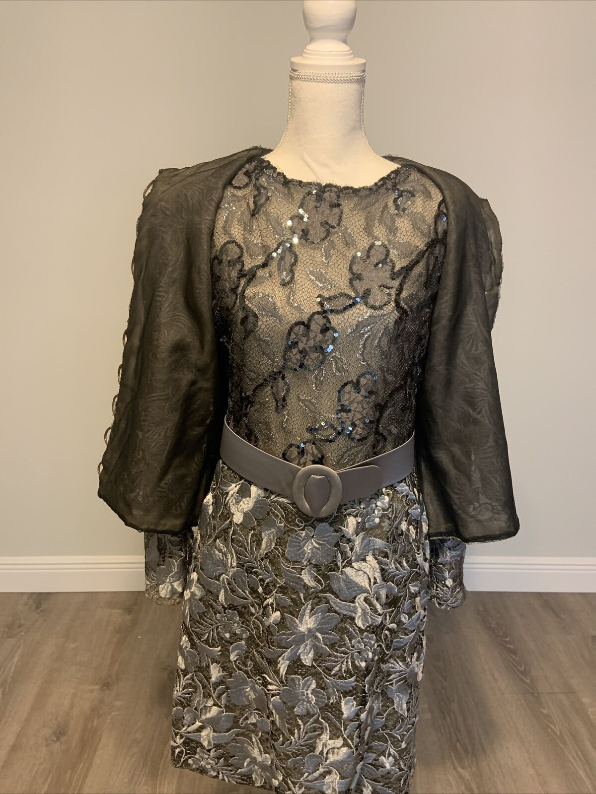 Arnold Scaasi Vintage Couture Silver Lace Dress w… - image 2