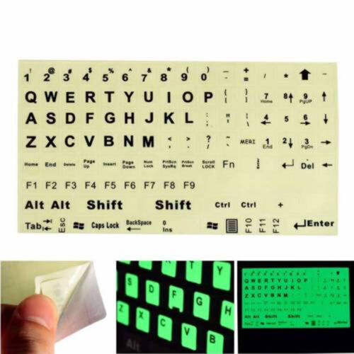 English XE Keyboard Fluorescent Sticker Large Letters for Computer Laptop VAUS