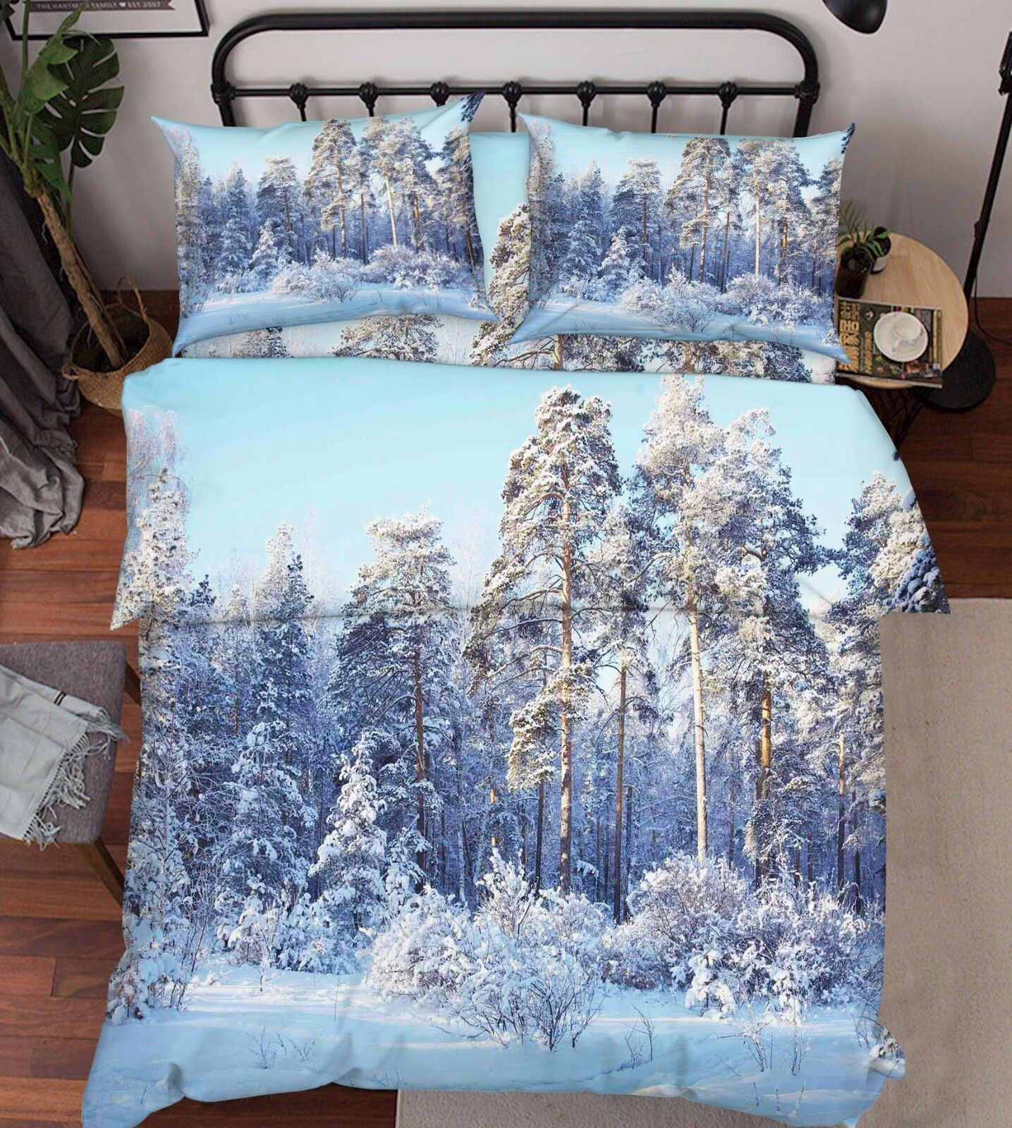 3D Snow Trees 816 Bed Pillowcases Quilt Duvet Cover Set Single Queen UK Kyra