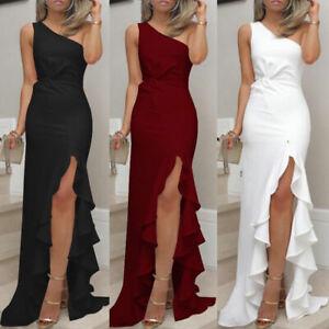 Womens Long Ruffles One Shoulder Evening Dresses High Slit Formal Party Dress Ebay