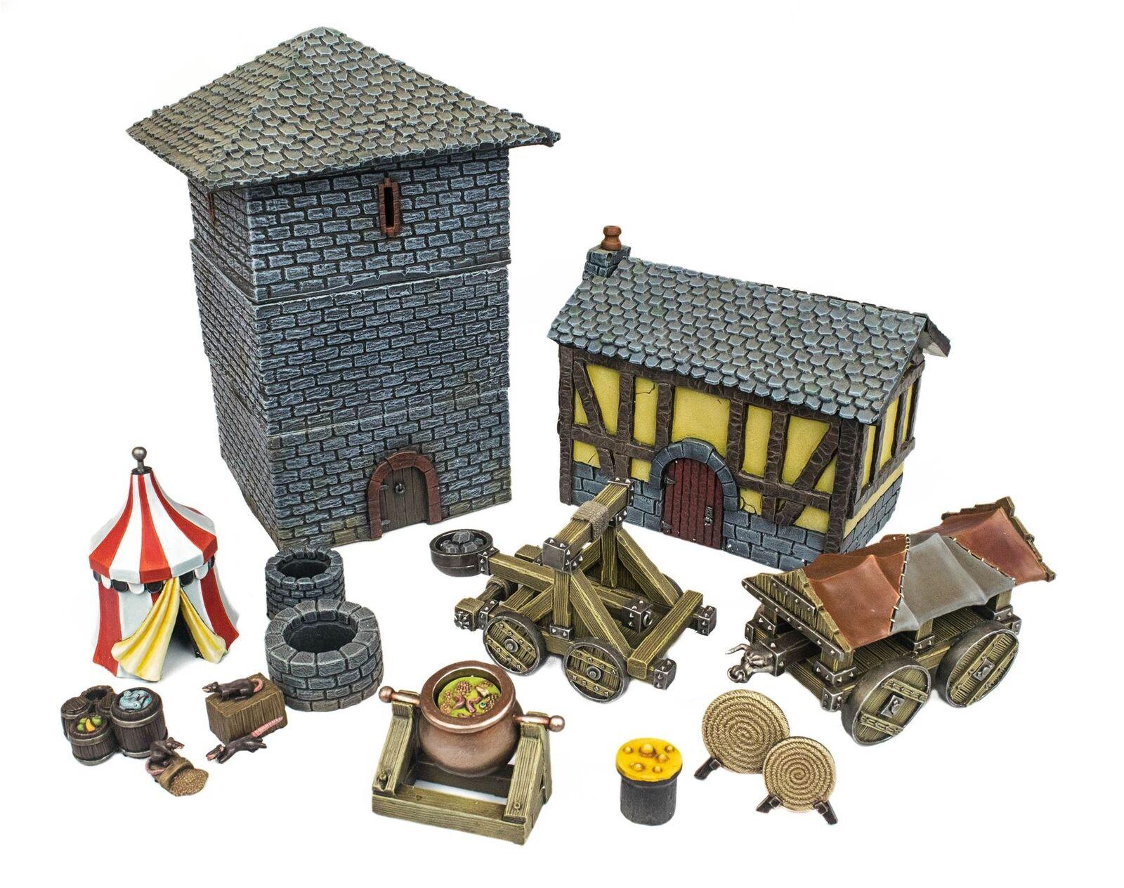 WWG Medieval Siege Set Battaglia Completo -28mm Fantasy Wargame Terreno Modello