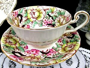 VICTORIA-C-amp-E-tea-cup-and-saucer-Peony-floral-pattern-painted-chintz-teacup