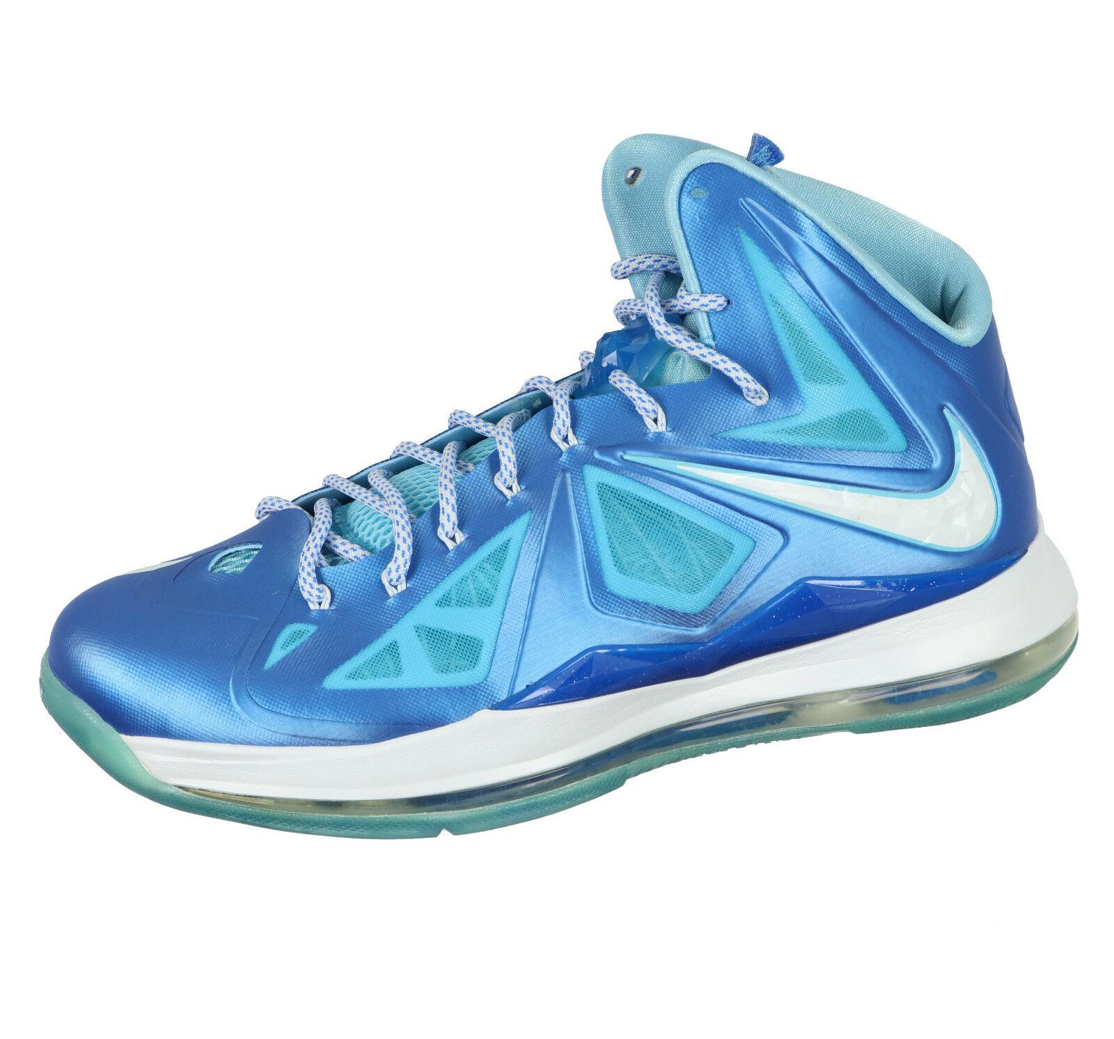 NIKE Lebron X+ Basketball Shoes sz 14 Photo Blue Windchill Blue Diamond 10 Elite