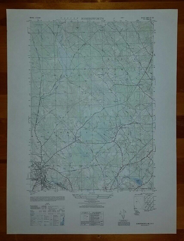 1940s Army like USGS topographic map Somersworth Berwick Maine