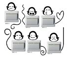 6 pcs Creative Switch Stickers Cute Monkey Series Bedroom Parlor Wall Stickers
