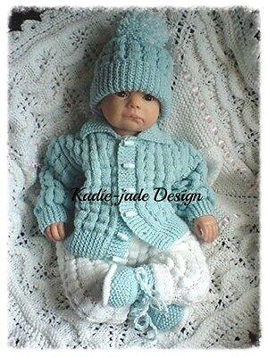 Knitting Pattern #86 (INSTRUCTIONS) Boys Jacket Set for 0-6m Baby