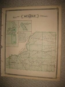 Antique 1876 Starke Marshall County Indiana Map Knox Plymouth
