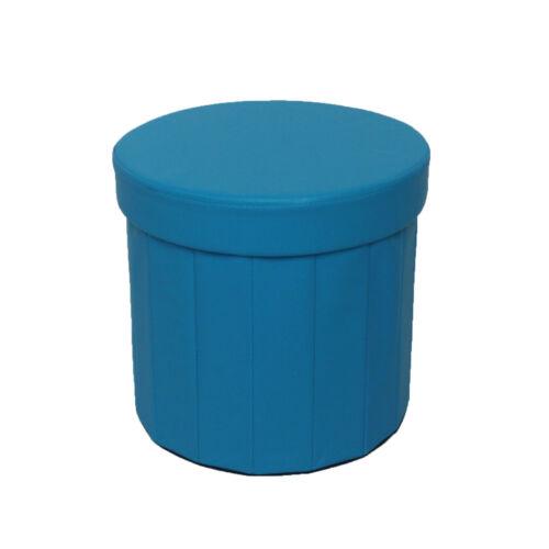 New Round Shaped Folding Ottoman Seat Toy Storage Box Faux Leather Pouffe Stool