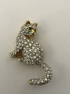 Swarovski-Brooch-Pave-Crystal-Cat-Gold-Tone-Swan-Signed-Pin-New