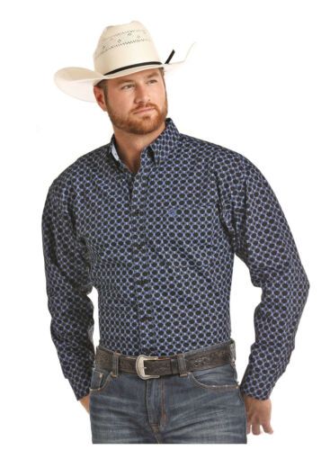 Panhandle Slim Men/'s Royal Blue /& Black Printed Snap Up Shirt 36S6520 36X6520