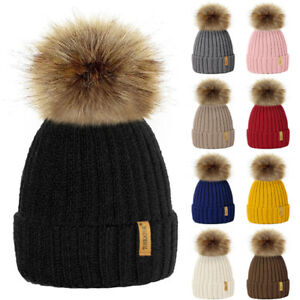 Baby Infant   Ladies Women Winter Knitted Beanie Ski Hat Faux Fur ... 49e37d1a6