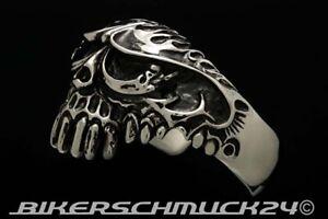 Totenkopf-Armband-Armspange-Half-Skull-Edelstahl-Bikerschmuck-Herren-Geschenk