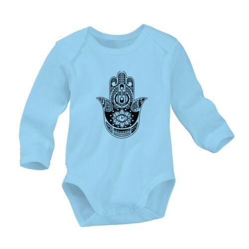 Hamsa Fatima Hand Romper Cute Newborn Baby 0-24 Months Girl Boy Long Sleeve 1329
