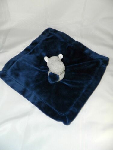 Carters Blue Navy Hippo Gray Plush Baby Lovey Security Blanket Satin Backing