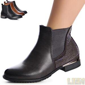 Damen Chelsea Boots Stiefeletten Booties Stiefel Damenschuhe 1036