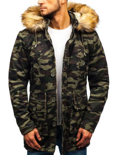 BOLF Jacket Parka Winter Coat Long Alaska Hooded Warm Faux Mens 4D4 Camo