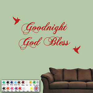 Details about Goodnight, God Bless Wall Sticker, Quote, Wall Art, Decal,  Birds,