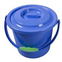 9 Litre Blue Plastic Bucket With Lid Camping Caravan Tent Event Festival