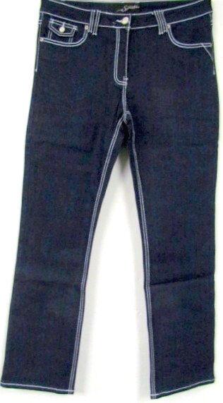 Neu sexy damen denim jeans hose stretch INDIGO blue whitee nähte langgröße 46 48