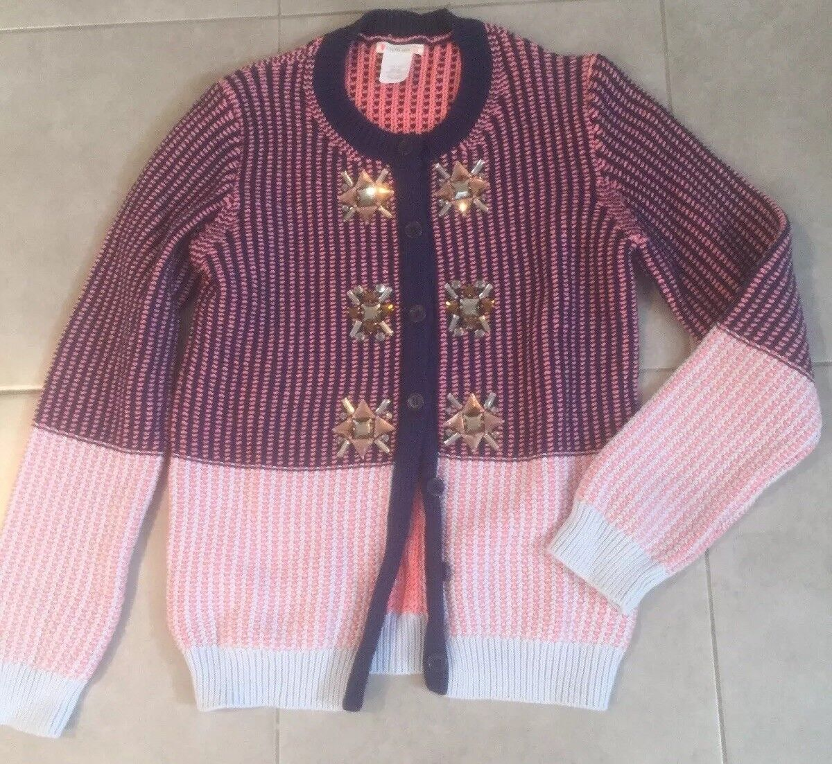 CREWCUTS Button Down Pink and Navy Studded Women's Sweater Size 16 Long sleeves