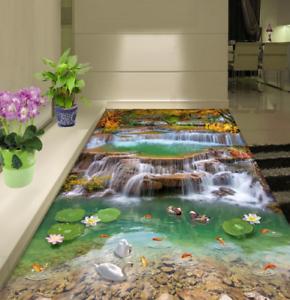 3D Patos Cisnes lago Piso impresión de parojo de papel pintado mural 5 5D AJ Wallpaper Reino Unido Limón