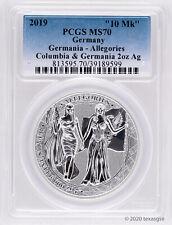 2019 Germania Mint 10 Mark 2oz Silver Allegories - Columbia & Germania PCGS MS70