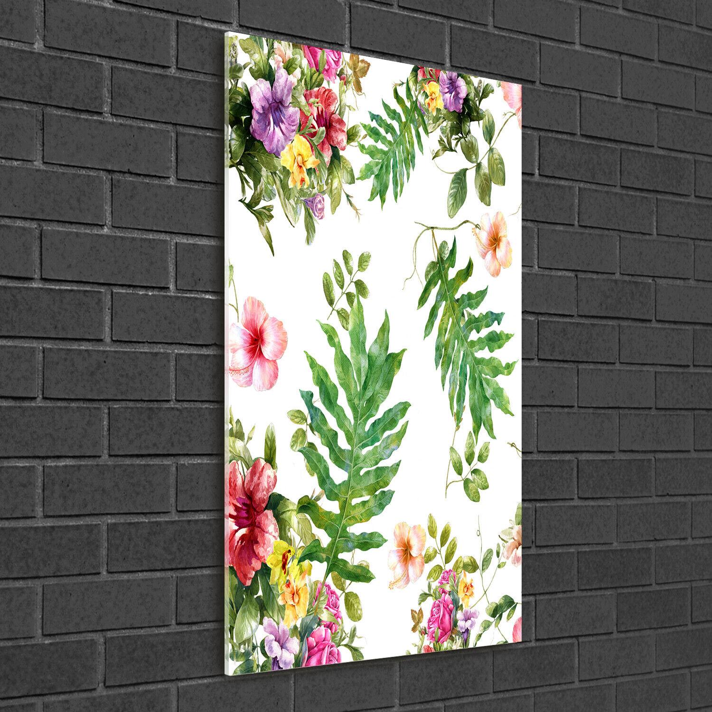 - Muro ARTE Immagine pressione rigida-VETRO verdeICALE 50x100 fiori tropicali