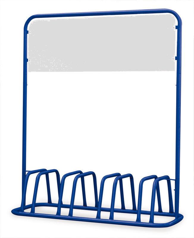 4er Fahrradständer mit Werbe-Schild Werbe-Schild mit - blau - e57e9f