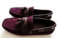 $1075 Brioni Suede Crocodile Leather Tassel Shoes Loafers 10 Us 43 Euro 9 Uk