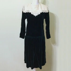Image Is Loading Velvet Dress Vintage 80s Dark Green Lace Bib