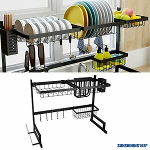 Over Sink Dish Drainer Drying Rack Shelf Stainless Steel Kitchen Cutlery Holder