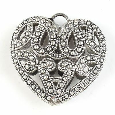 5x 142639 Charms Antique Silver Alloy Flower Carved Hollow Heart Pendants DIY BS