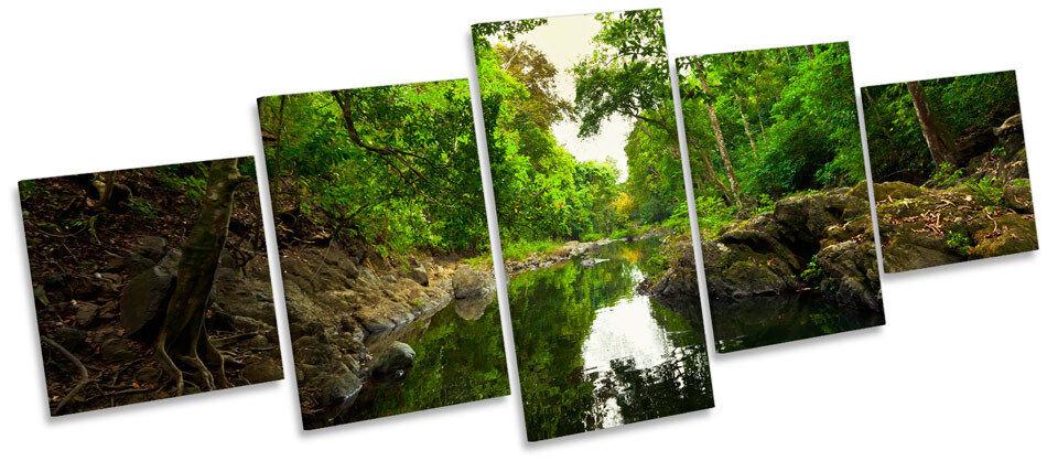 Forêt vert river woods toile wall art cinq panneau imprimé photo