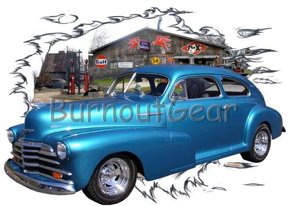 1948 BlauChevy Fleetline Custom Hot Rod Garage T-Shirt 48 Muscle Car Tees