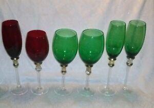 VTG-LOVE-RED-Green-Gold-Band-Stem-Glass-Wine-Goblet-Champagne-Flute-Crystal