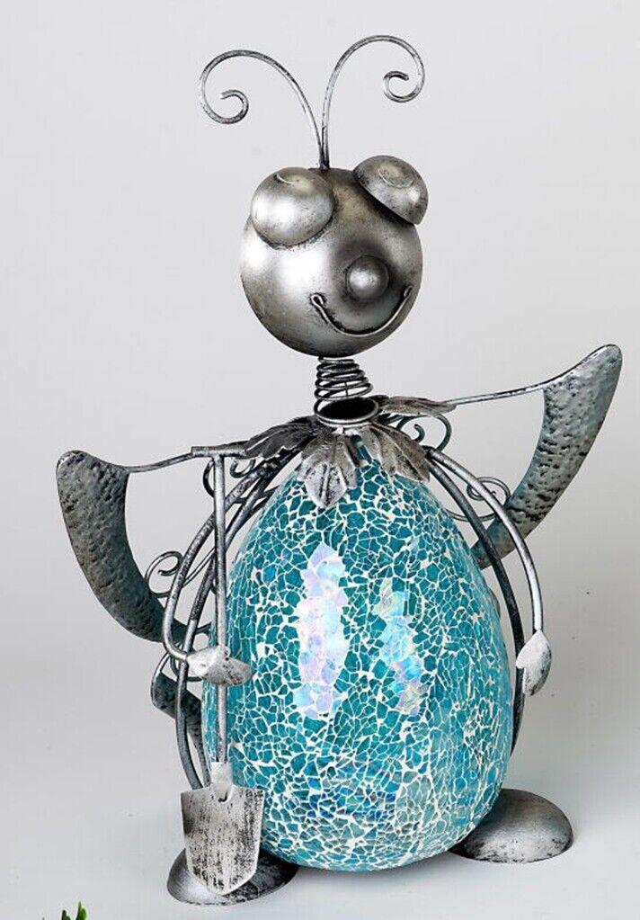Navideña dekofigur mariposa de azul mosaikglas y metal, 39 cm de alto