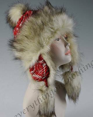Wool & Faux Fox Fur Winter Mongolian Hat Ushanka Trapper Russian Style Hat - Red
