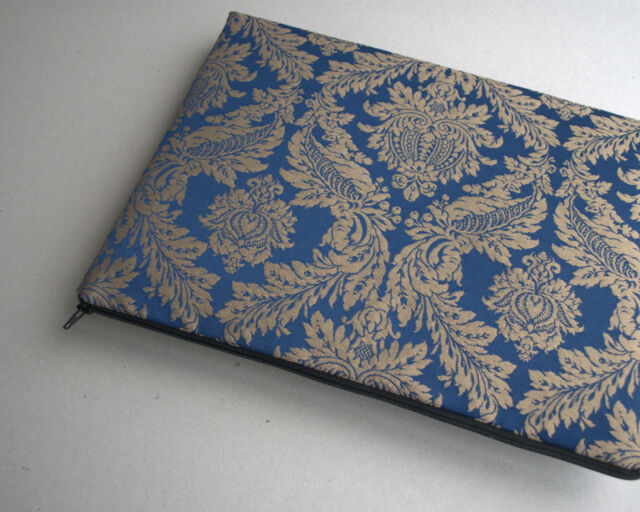 MacBook 11 Air sleeve cover case upholstery fabric Silver Blue Ornaments bag