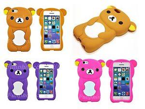 3D-Rilakkuma-Lazy-Bear-Cartoon-Case-Apple-iPhone-5-5s-5c-4-4s-3g-3gs-Silicone-UK