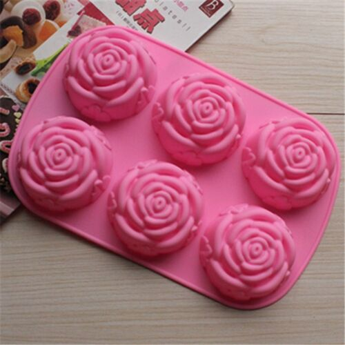 6 Holes Pink Rose Shaped Silicone Chocolate Ice Cake DIY Jelly Pudding Mould