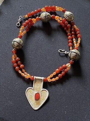 Vintage Turkmen Goldwashed Pendant with Carnelian Ethnic Jewelry Turkoman Silver Jewelry Collectors Piece Asyk Silver Pendant
