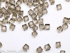50pcs 4mm Cube Square Faceted Crystal Glass Charm Loose Spacer Beads Light Brown
