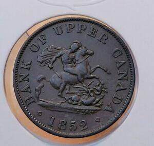 1852 Canada Bank of Upper Canada Half Penny Token--Breton 720