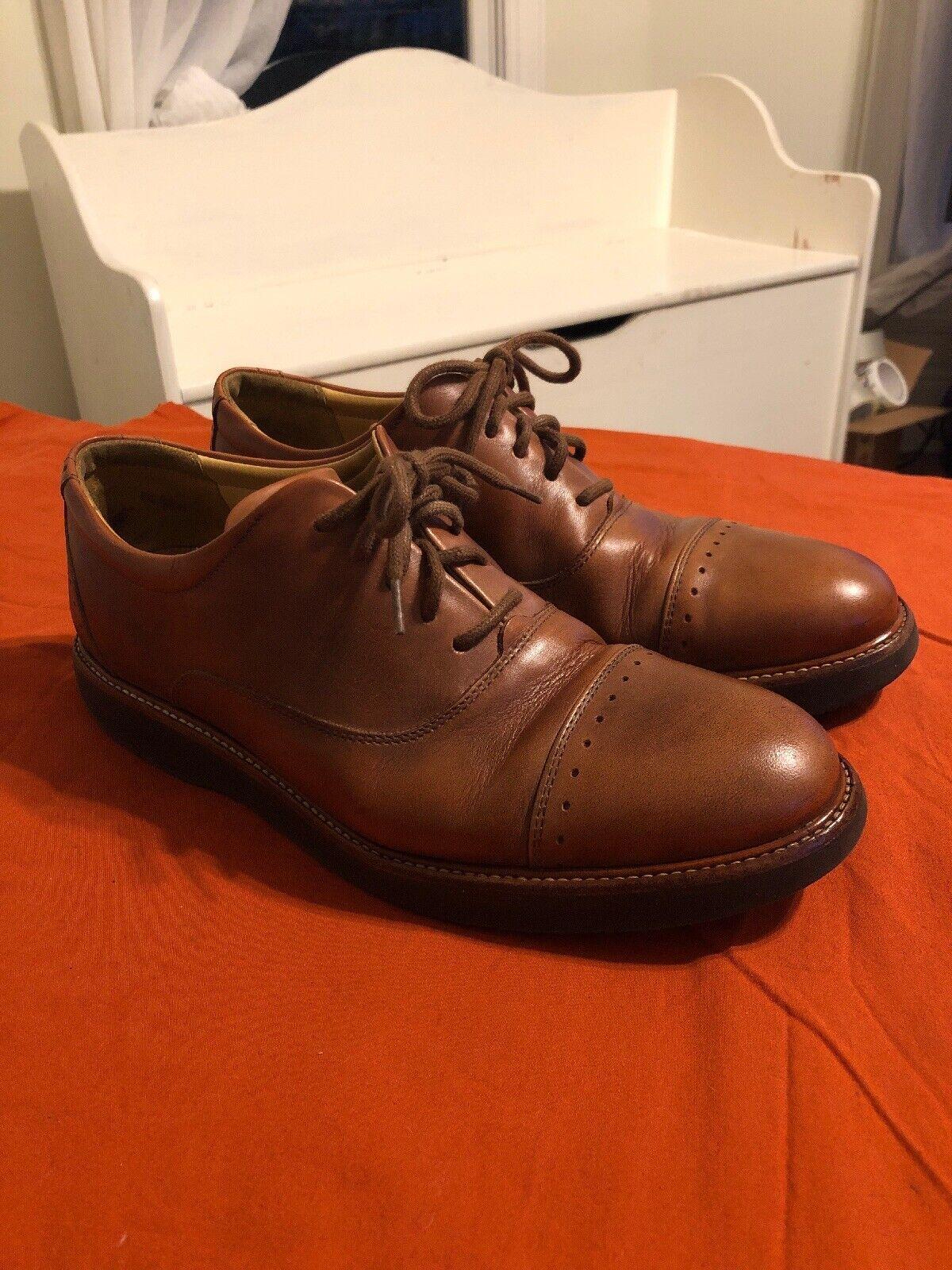 "Samuel Hubbard ""Market Cap"" marrón Leather Cap Toe Dress zapatos Mens Talla 8.5 M"