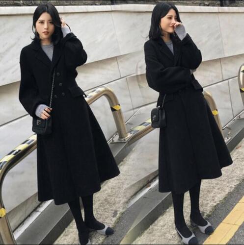invernale Cappotto trendy in casual Cappotto sottile lana doppiopetto donna da lungo 1rEAEWB