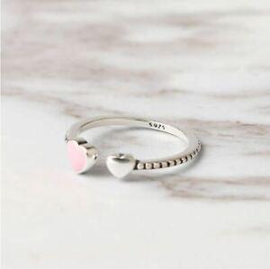 925-Sterlingsilber-Ring-Damen-Ringe-Herz-Herzen-Rosa-Symbol-Verstellbar-Silber
