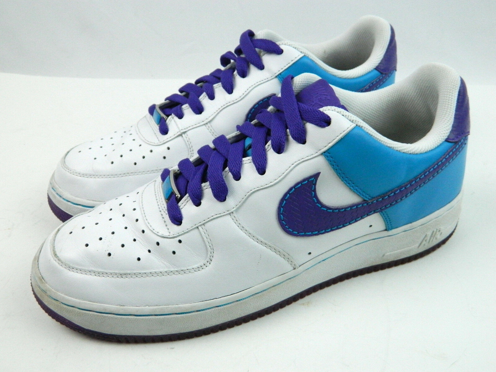 2007 Nike Air Force I '82 Purple bluee Samurai Hornets colors Size 9 M VG cond