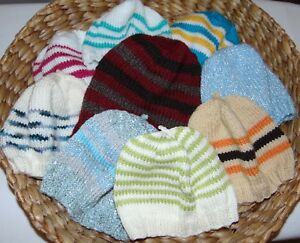 9f00376ae Details about JOB LOT 9 X HAND KNITTED HATS COTTON/ BABY WOOL KIDS UNISEX -  NEW - 1 to 5 years