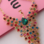 Colorful-Rhinestone-Crystal-Peacock-Choker-Bib-Statement-Gold-Chain-Necklace-Hot thumbnail 2