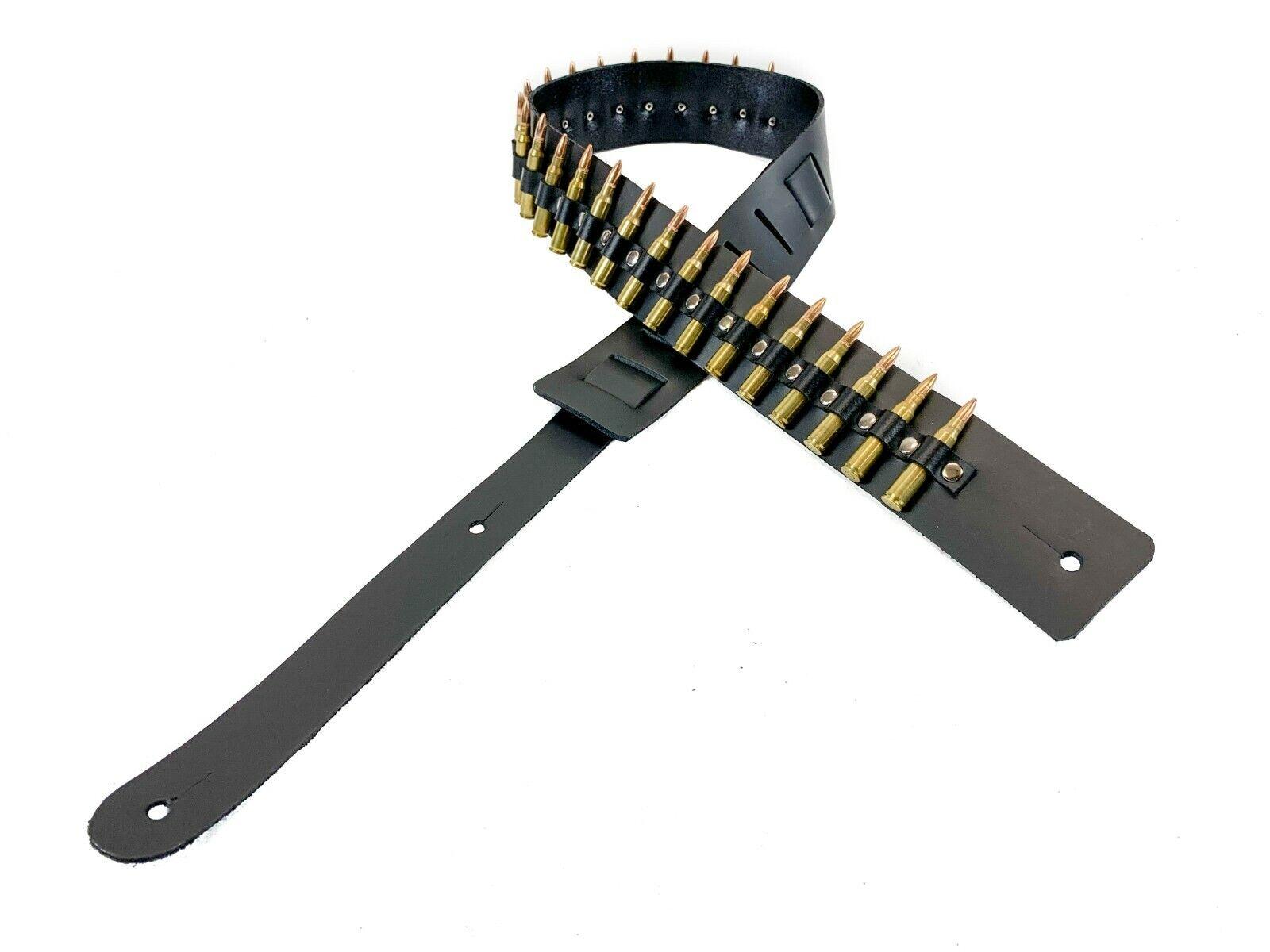 "1 1//4/"" Wide Shotgun Shell Black Cowhide Leather Buckle Guitar Strap"